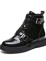 Недорогие -Жен. Ботильоны Лакированная кожа Осень На каждый день Ботинки На низком каблуке Круглый носок Ботинки Черный