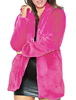 Недорогие -Жен. Пальто с мехом Уличный стиль / Изысканный - Однотонный