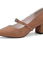 Недорогие -Жен. Комфортная обувь Замша / Овчина Весна Обувь на каблуках На толстом каблуке Черный / Светло-серый / Темно-русый