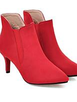 Недорогие -Жен. Fashion Boots Замша Весна Ботинки На шпильке Закрытый мыс Ботинки Черный / Серый / Красный