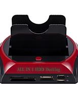 "Недорогие -Корпус жесткого диска Совместимость с HDD / Новый дизайн пластик USB 2.0 All-in-1 Dual HDD Docking Station with One Touch Backup for 2.5""/3.5"" SATA/IDE HDD"
