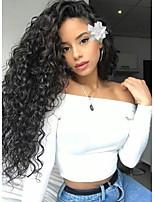 Недорогие -Необработанные Не подвергавшиеся окрашиванию Лента спереди Парик Бразильские волосы Loose Curl Парик Стрижка каскад 130% Плотность волос Природные волосы Для темнокожих женщин Необработанные Черный