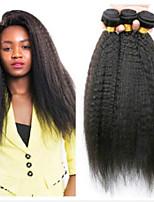 Недорогие -4 Связки Малазийские волосы Естественные прямые 8A Натуральные волосы Головные уборы Удлинитель Пучок волос 8-28 дюймовый Черный Естественный цвет Ткет человеческих волос Машинное плетение