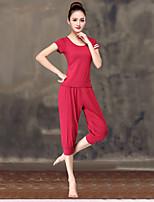 abordables -Femme Encolure dégagée Sarouel / Ample Costume de yoga - Rouge / Blanc, Noir / Blanc, Bourgogne Des sports Couleur unie Modal Taille Haute Shirt Yoga, Danse, Fitness Manches Courtes Tenues de Sport