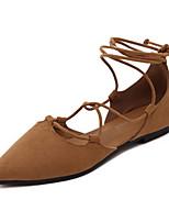 baratos -Mulheres Sapatos Confortáveis Camurça Primavera Rasos Sem Salto Preto / Cinzento / Marron