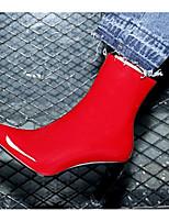 Недорогие -Жен. Fashion Boots Наппа Leather Осень Ботинки На толстом каблуке Закрытый мыс Ботинки Черный / Красный