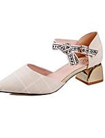Недорогие -Жен. Комфортная обувь Синтетика Весна & осень / Весна лето Обувь на каблуках На толстом каблуке Белый / Серый