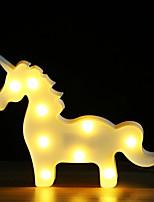 Недорогие -BRELONG® 1шт Unicorn 3D ночной свет Тёплый белый Аккумуляторы AA Для детей / Мультипликация / Очаровательный <5 V