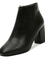 Недорогие -Жен. Fashion Boots Полиуретан Осень На каждый день Ботинки На низком каблуке Сапоги до середины икры Черный / Коричневый