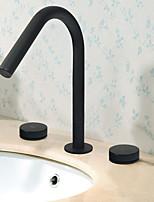 Недорогие -Ванная раковина кран - Новый дизайн черный Разбросанная Две ручки три отверстия