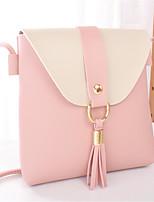 Недорогие -Жен. Мешки PU Мобильный телефон сумка С кисточками Контрастных цветов Розовый / Серый / Коричневый