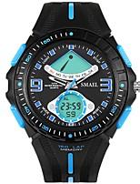 baratos -SMAEL Homens Relógio Esportivo Japanês Digital 50 m Impermeável Calendário Cronógrafo Silicone Banda Analógico-Digital Fashion Preta - Preto Preto / Azul