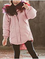 Недорогие -Дети Девочки Однотонный Длинный рукав На пуховой / хлопковой подкладке