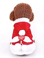 economico -Prodotti per cani / Prodotti per gatti Cappottini / Felpa / Smoking Abbigliamento per cani Semplice Rosso Miscela polyester / cotone Costume Per animali domestici Per femmina Capodanno