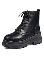 Недорогие -Жен. Fashion Boots Полиуретан Осень Ботинки На низком каблуке Круглый носок Сапоги до середины икры Черный / Коричневый