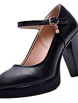Недорогие -Жен. Балетки Полиуретан Осень Обувь на каблуках На толстом каблуке Круглый носок Черный / Повседневные