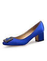 abordables -Femme Slingback Satin Printemps été Minimalisme Chaussures à Talons Block Heel Bout rond Cristal Noir / Rouge / Bleu