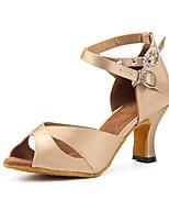 baratos -Mulheres Sapatos de Dança Latina Cetim Sandália / Salto Pedrarias / Botões / Presilha Salto Carretel Personalizável Sapatos de Dança Caqui