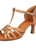 baratos -Mulheres / Para Meninas Sapatos de Dança Latina Cetim Sandália / Salto Presilha Salto Cubano Personalizável Sapatos de Dança Bege