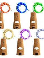 baratos -ZDM® 2m Cordões de Luzes 20 LEDs SMD 0603 Branco Quente / Branco Frio / Vermelho Impermeável / Decorativa / Bucha de garrafa de vinho Bobina de cobre Baterias alimentadas 6pcs
