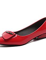 abordables -Femme Escarpins Polyuréthane Automne Chaussures à Talons Talon Plat Bout pointu Strass Blanc / Noir / Rouge / Quotidien