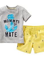 Недорогие -Дети Мальчики Классический Однотонный / С принтом С короткими рукавами Набор одежды