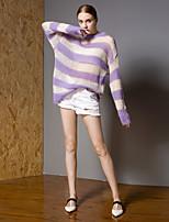 Недорогие -Жен. Активный Пуловер - Полоски / Контрастных цветов, Аппликация