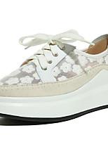 baratos -Mulheres Sapatos Confortáveis Pele Napa Verão Rasos Sem Salto Dedo Fechado Branco / Rosa claro