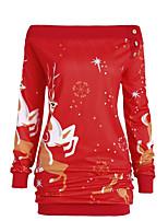 baratos -Mulheres Básico Evasê Vestido - Estampado, Animal / Floco de Neve Altura dos Joelhos Floco de Neve