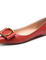 Недорогие -Жен. Комфортная обувь Наппа Leather Весна / Лето Милая На плокой подошве На плоской подошве Бант Черный / Красный