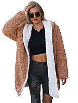 Недорогие -Жен. Пальто с мехом Изысканный - Однотонный Пэчворк