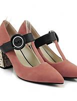 Недорогие -Жен. Балетки Замша / Наппа Leather Весна Обувь на каблуках На шпильке Черный / Розовый