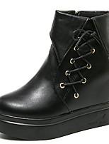 Недорогие -Жен. Армейские ботинки Полиуретан Осень Ботинки Микропоры Круглый носок Черный