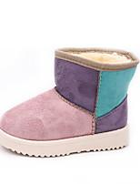 Недорогие -Девочки Обувь Хлопок Наступила зима Зимние сапоги Ботинки Для прогулок для Дети Пурпурный / Коричневый / Розовый / Контрастных цветов