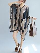 Недорогие -Жен. Блуза V-образный вырез Свободный силуэт Контрастных цветов