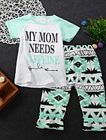 Недорогие -малыш Девочки Геометрический принт С короткими рукавами Набор одежды