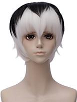 abordables -Accessoires pour Perruques Droit Coupe Dégradée Cheveux Synthétiques 12 pouce Cosplay Noir / Blanc Perruque Homme Court Sans bonnet Noir blanc