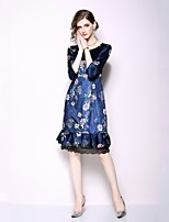 Недорогие -Жен. Классический / Элегантный стиль Оболочка Платье - Цветочный принт, Пэчворк До колена