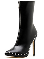 cheap -Women's Boots Stiletto Heel Pointed Toe Synthetics Mid-Calf Boots Sweet / Minimalism Fall / Spring & Summer Black / White / Party & Evening