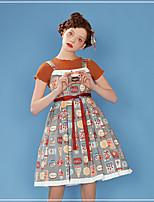 baratos -Doce Casual Lolita Dress Estilo Moderno Estilo bonito Feminino Vestidos Cosplay Cinzento Sem Mangas Sem Manga Midi Trajes da Noite das Bruxas