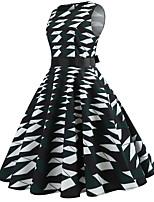 baratos -Mulheres Vintage / Moda de Rua Evasê Vestido - Estampado, Geométrica / Estampa Colorida Altura dos Joelhos