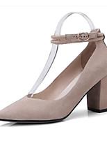 abordables -Femme Escarpins Daim / Peau de mouton Hiver Chaussures à Talons Talon Bottier Noir / Rose / Amande