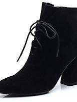 Недорогие -Жен. Ботильоны Полиуретан Осень Ботинки На толстом каблуке Заостренный носок Ботинки Черный / Темно-коричневый