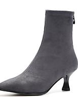 Недорогие -Жен. Fashion Boots Эластичная ткань Зима Ботинки На каблуке-рюмочке Закрытый мыс Ботинки Серый / Коричневый / Миндальный