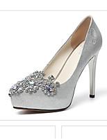 Недорогие -Жен. Балетки Микроволокно Весна Обувь на каблуках На шпильке Серебряный