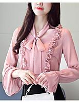 baratos -Mulheres Blusa Sólido Colarinho de Camisa