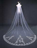 baratos -Uma Camada Estilo vintage / Floral Véus de Noiva Véu Capela com Apliques / Cor Única 118,11 em (300 centímetros) Renda / Tule