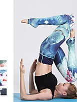 cheap -Women's Stirrup Yoga Pants - Green, Blue, Amethyst Sports Floral Print Bottoms Running, Fitness, Workout Activewear Breathable, Soft, Sweat-wicking High Elasticity Slim