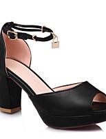 preiswerte -Damen Komfort Schuhe PU Sommer Hochzeit Schuhe Blockabsatz Schwarz / Silber / Rot