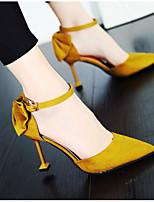 baratos -Mulheres Sapatos Confortáveis Couro Ecológico Primavera Saltos Salto Agulha Preto / Bege / Amarelo